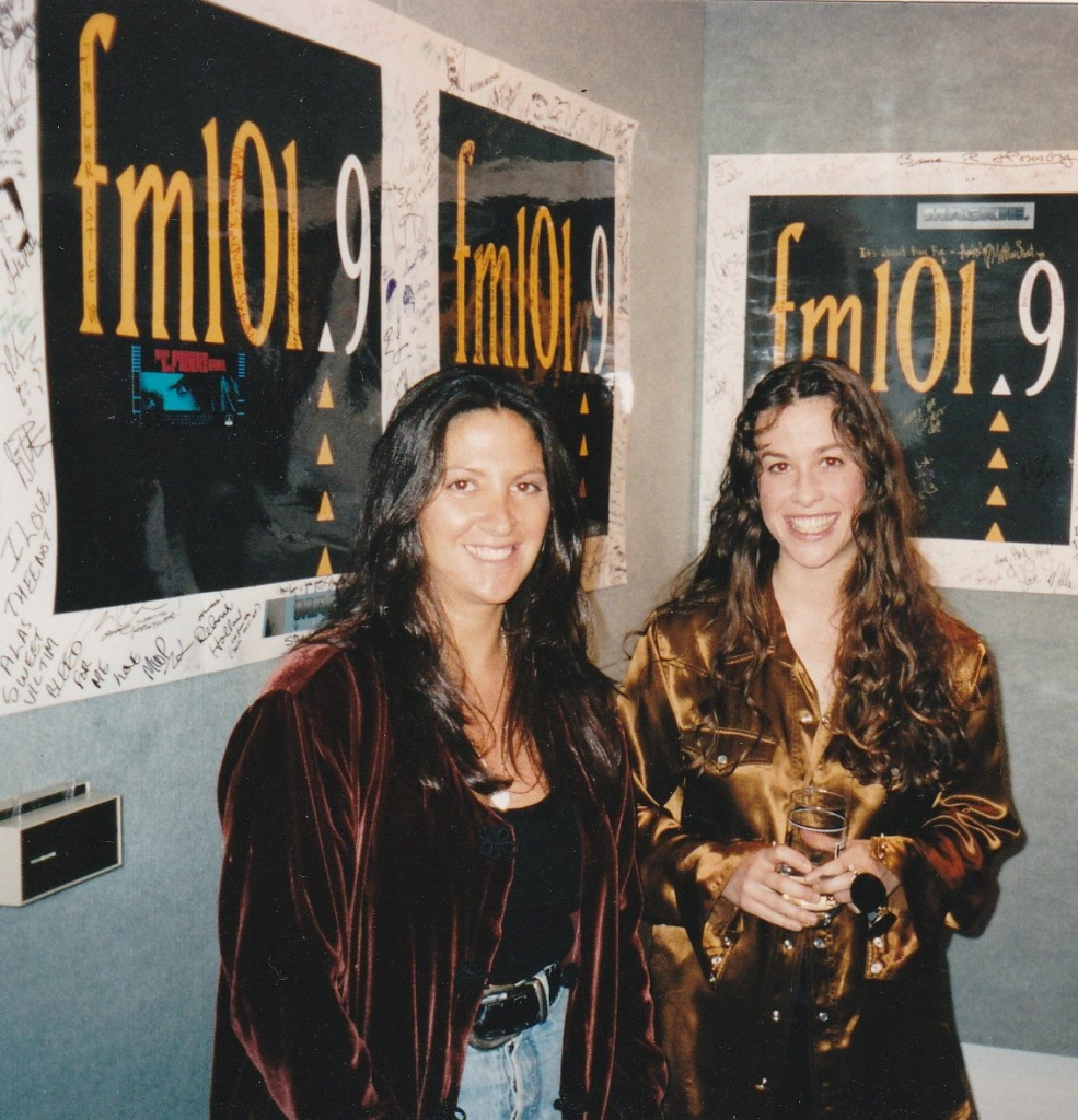 Alanis Morissette with Nicole at KSCA/Los Angeles 1995