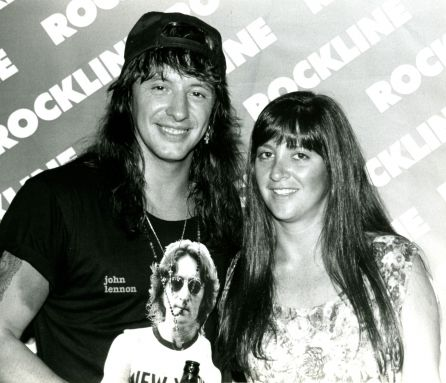 Ritchie Sambora (Bon Jovi) with Nicole Sandler at the Rockline studios