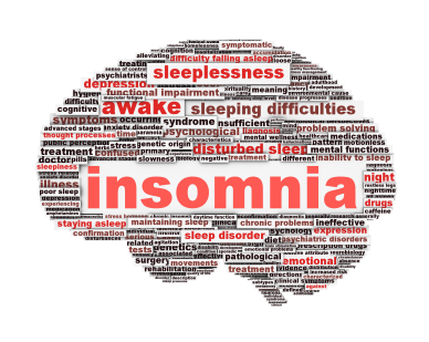 Insomnia symbol concept isolated on white background. Sleep disorder icon conceptual design