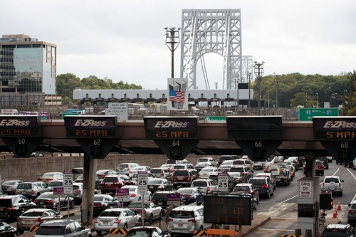 Traffic approaching the George Washington Bridge in Fort Lee, N.J., this month. The opening arguments started on Monday in the trial that stemmed from the closing of access lanes to the bridge in 2013. Credit Drew Angerer/Getty Images