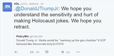 tweet Trump Jr gas chambers anti def league
